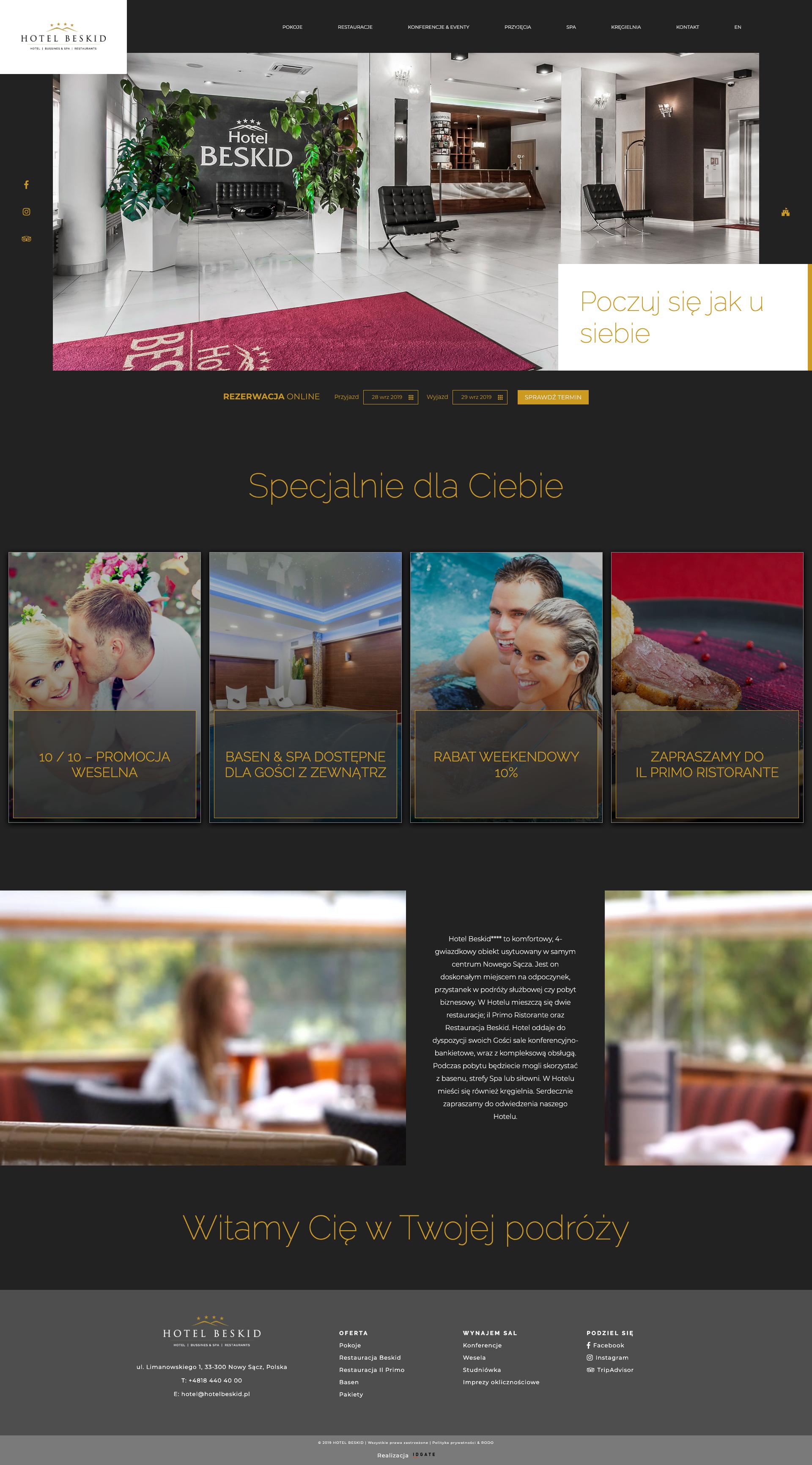Strona WWW Hotelu Beskid**** - IDGATE